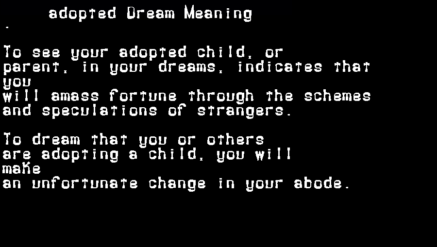 dream meanings adopted