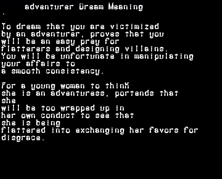 dream meanings adventurer