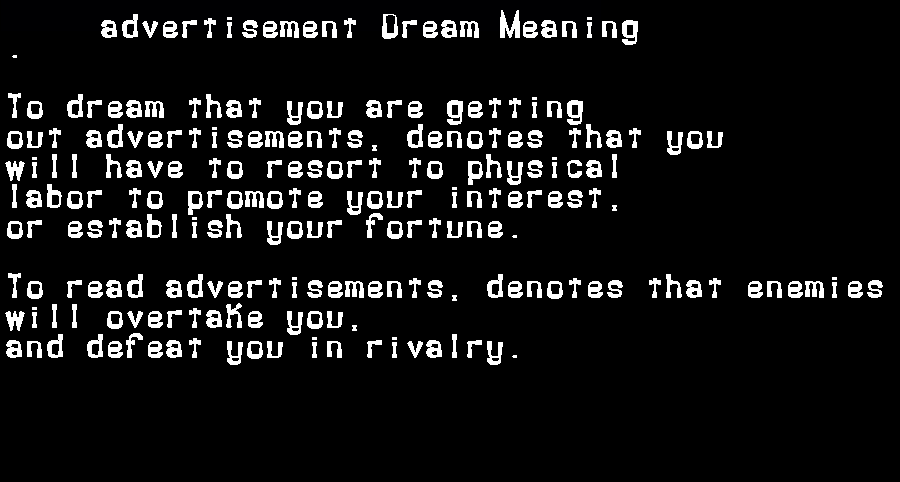 dream meanings advertisement