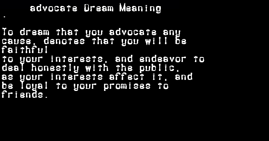 dream meanings advocate