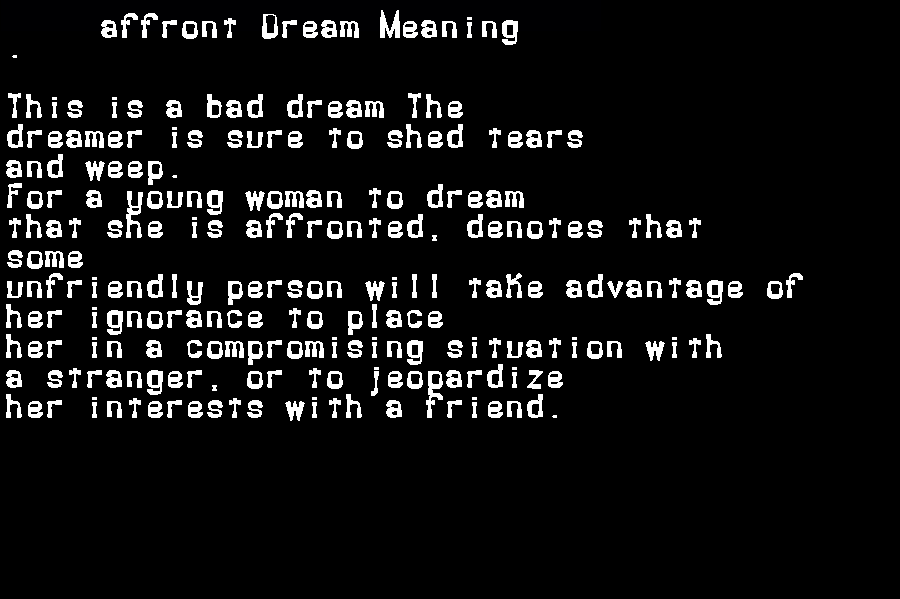 dream meanings affront