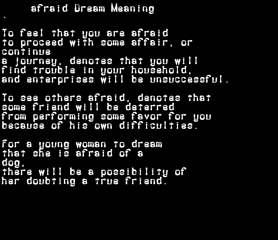 dream meanings afraid