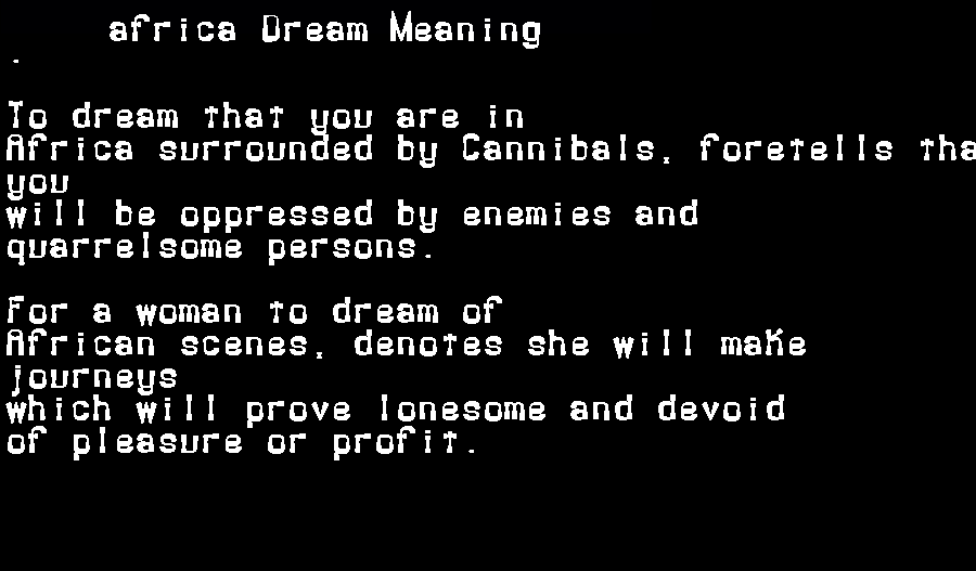 dream meanings africa