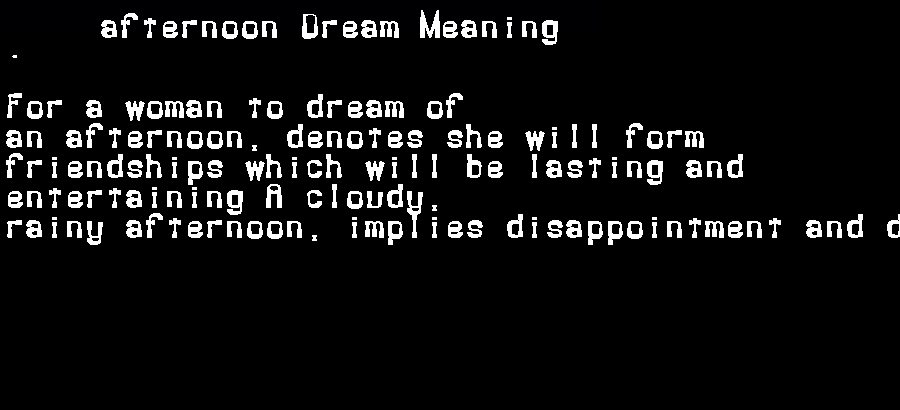 dream meanings afternoon
