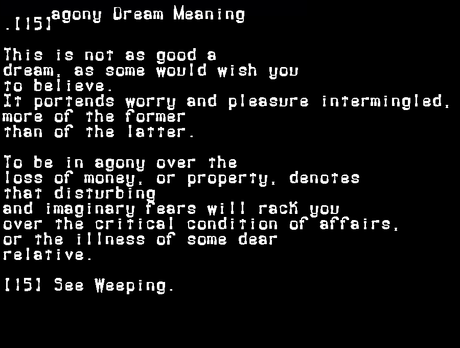 dream meanings agony