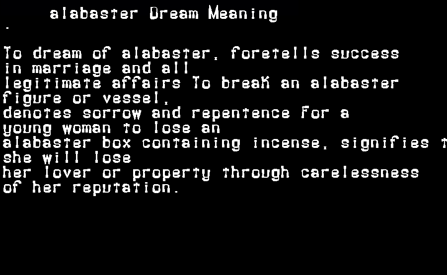 dream meanings alabaster