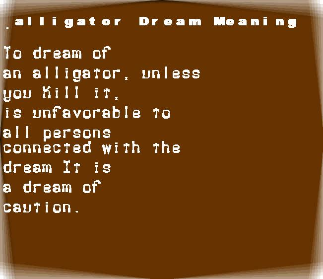 dream meanings alligator
