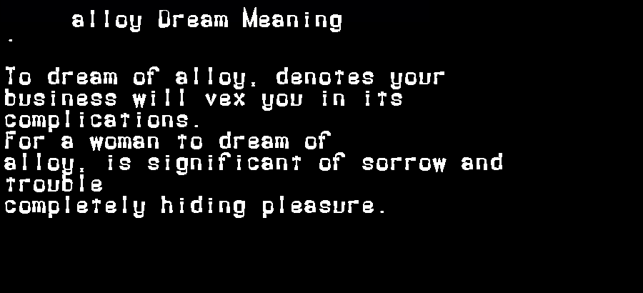 dream meanings alloy