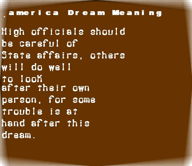 dream meanings america