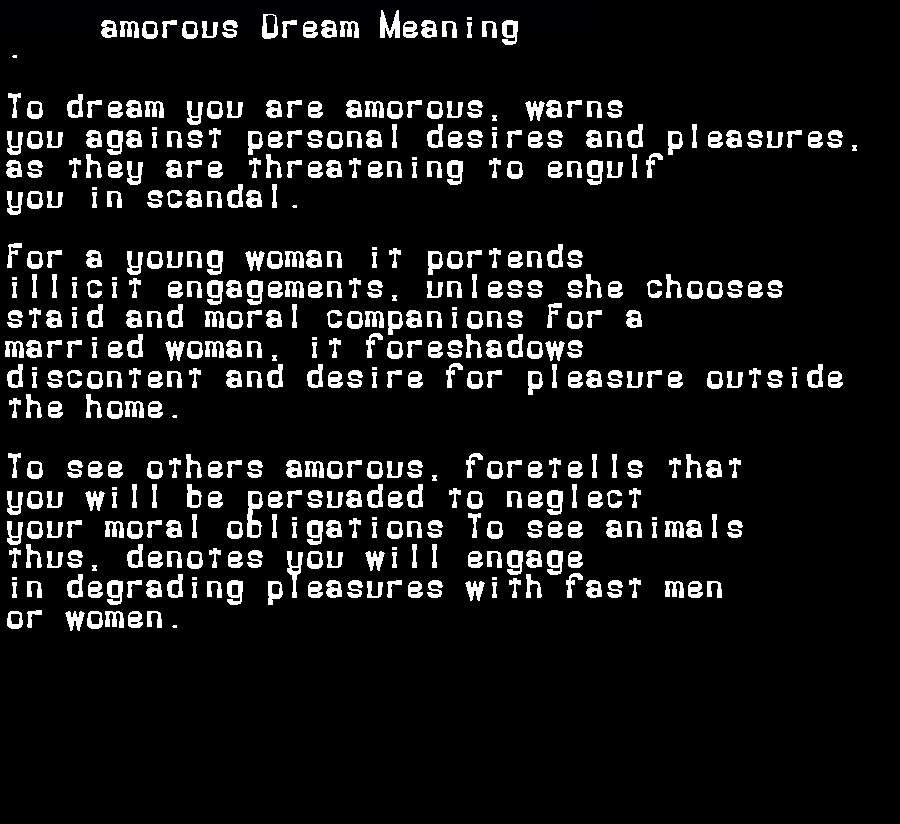 dream meanings amorous