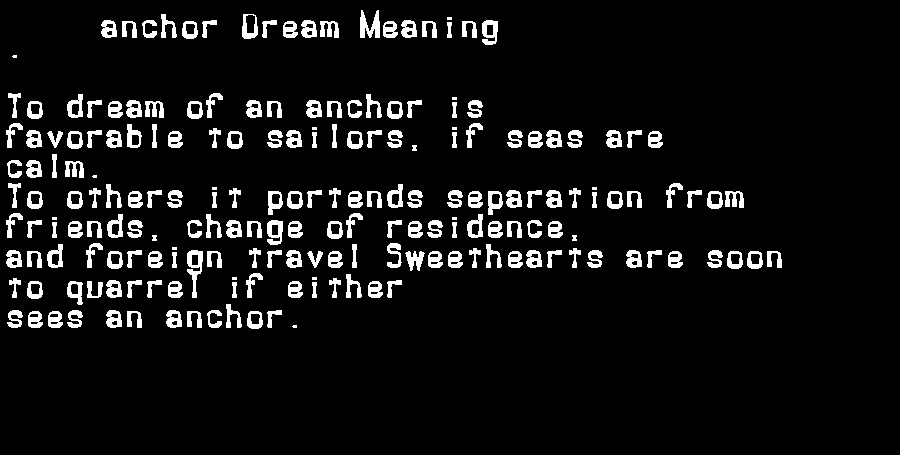 dream meanings anchor