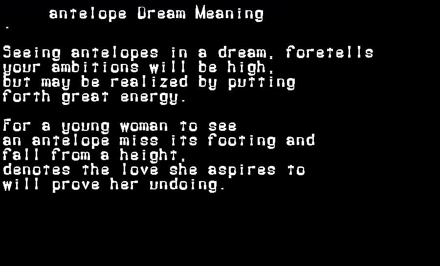 dream meanings antelope
