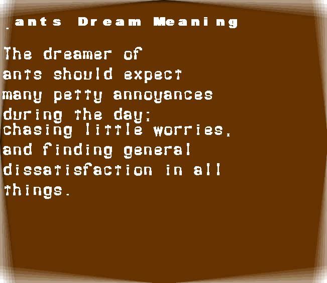 dream meanings ants