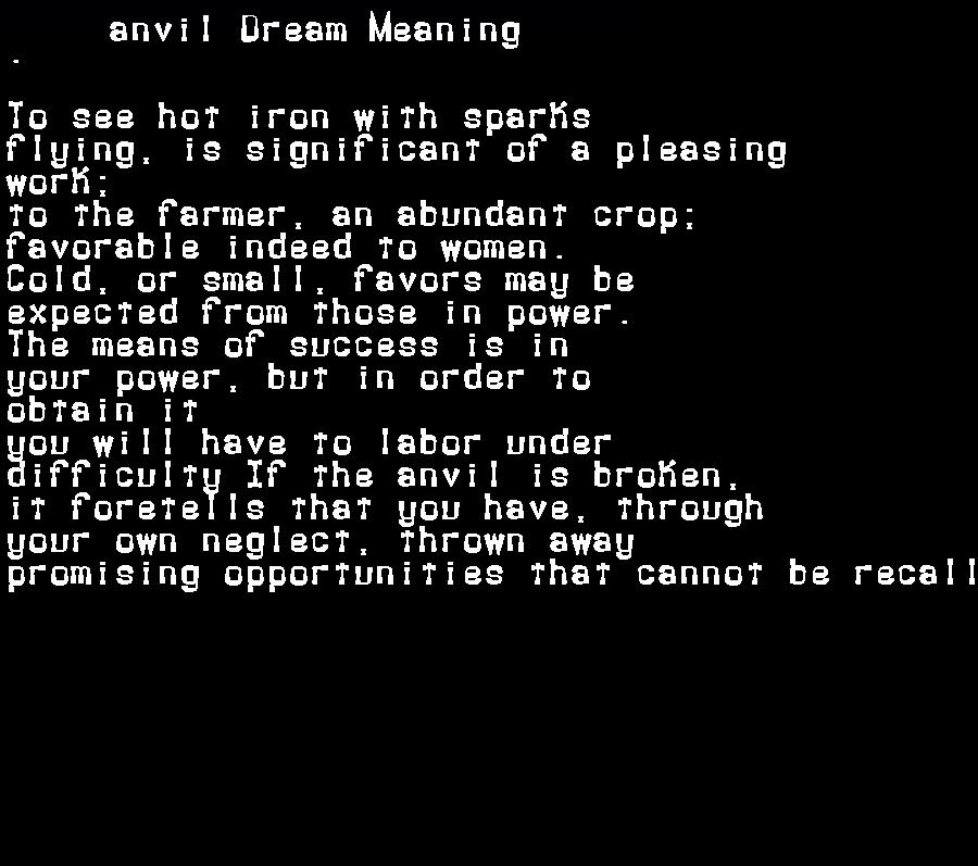 dream meanings anvil
