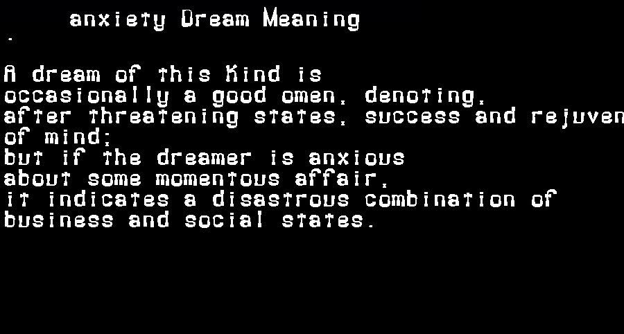 dream meanings anxiety