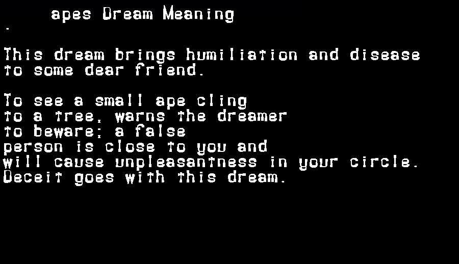 dream meanings apes
