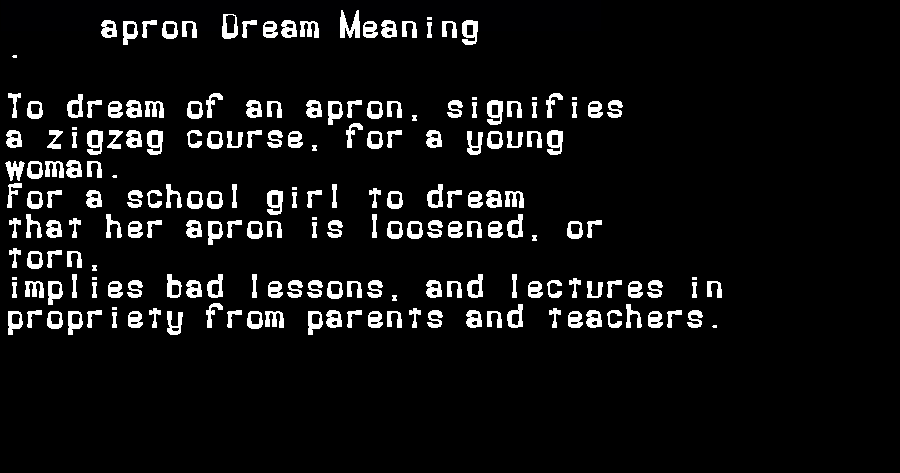 dream meanings apron