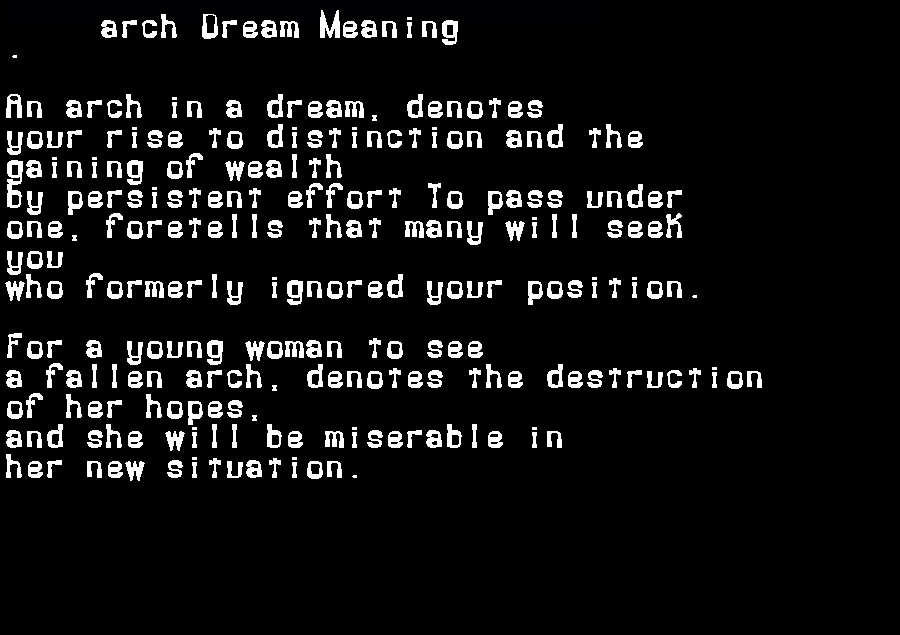 dream meanings arch