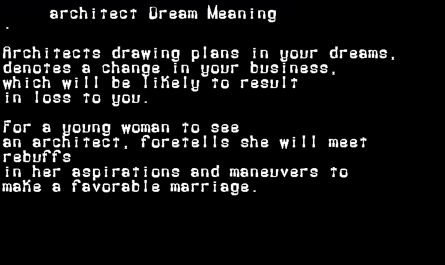 dream meanings architect
