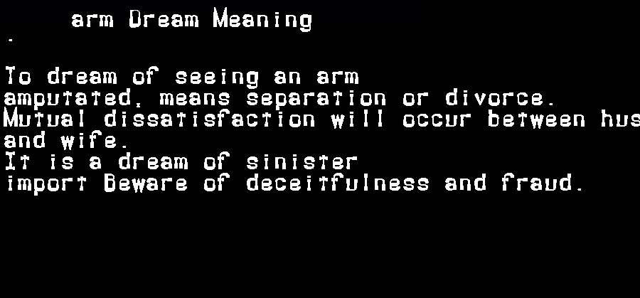 dream meanings arm