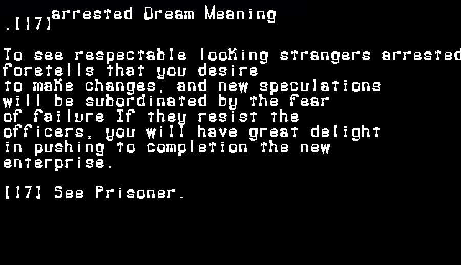dream meanings arrested