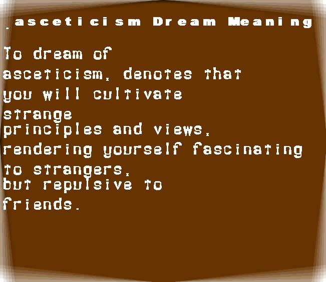 dream meanings asceticism