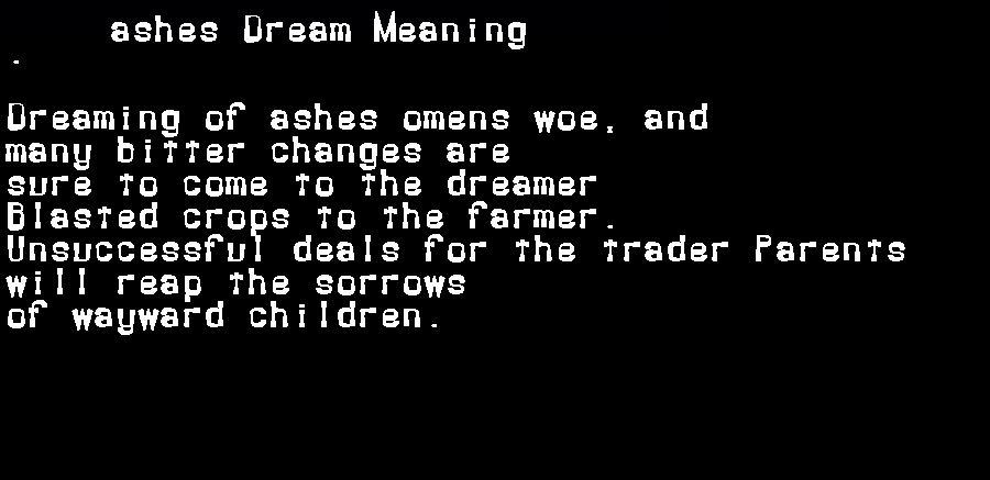 dream meanings ashes