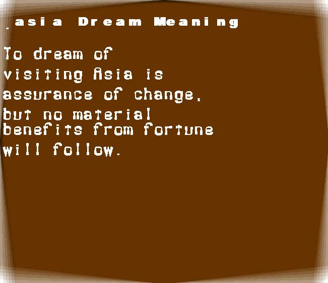 dream meanings asia