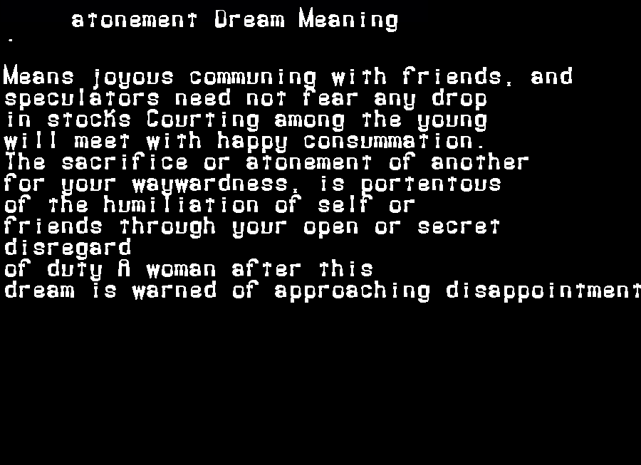 dream meanings atonement