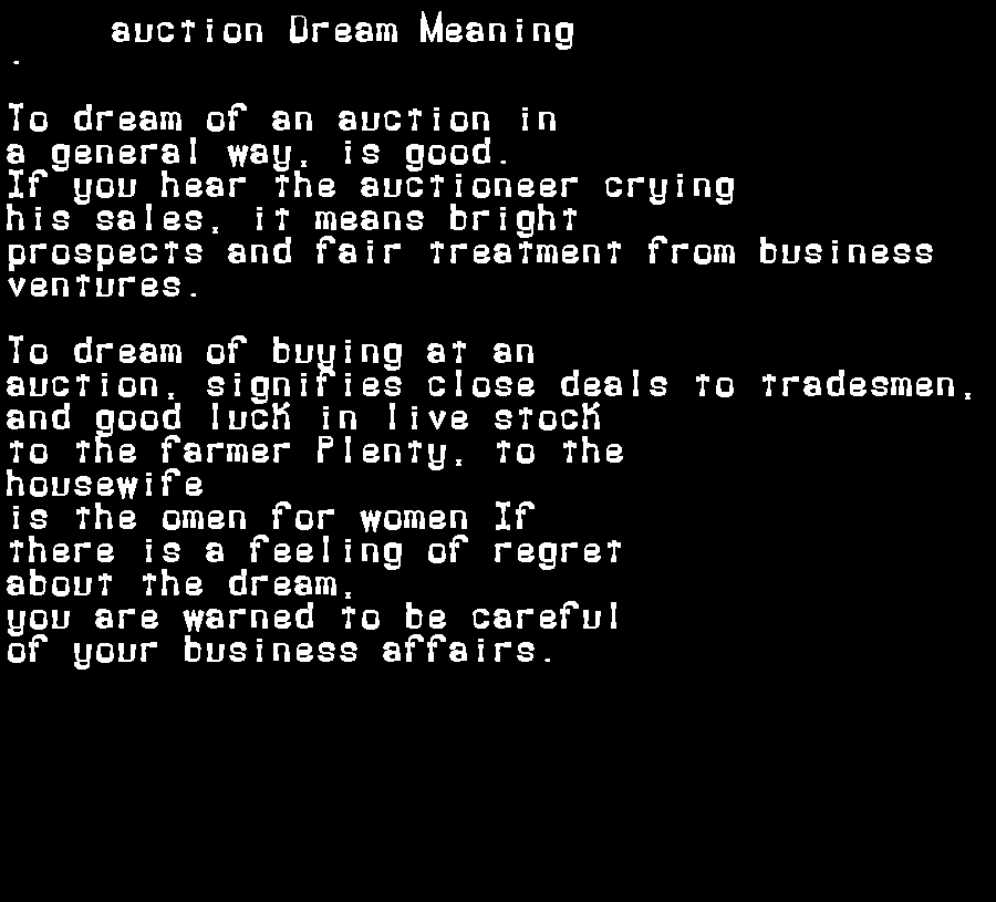dream meanings auction