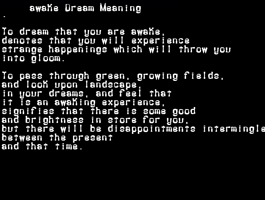dream meanings awake