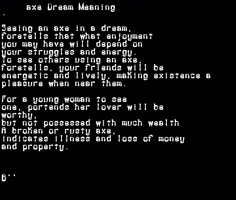 dream meanings axe