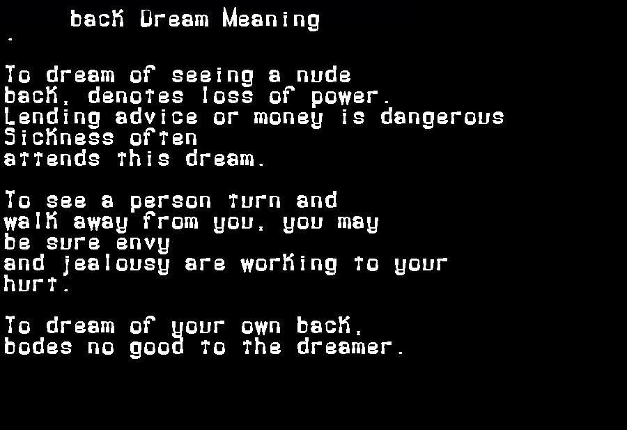 dream meanings back