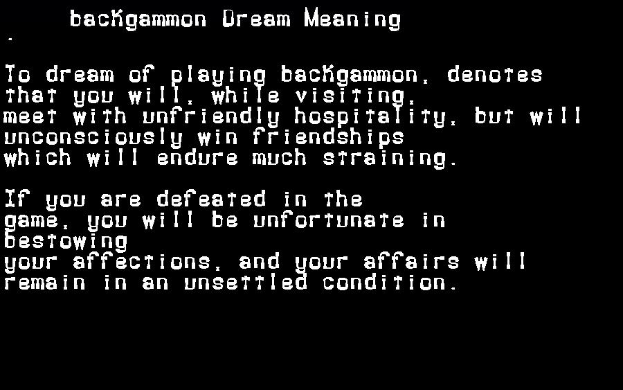 dream meanings backgammon