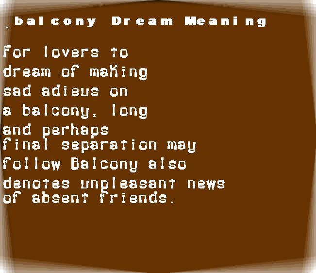 dream meanings balcony