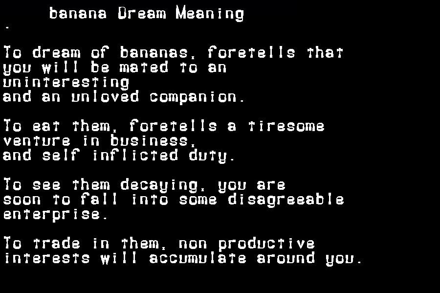 dream meanings banana