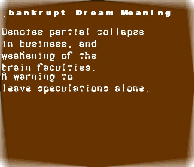 dream meanings bankrupt