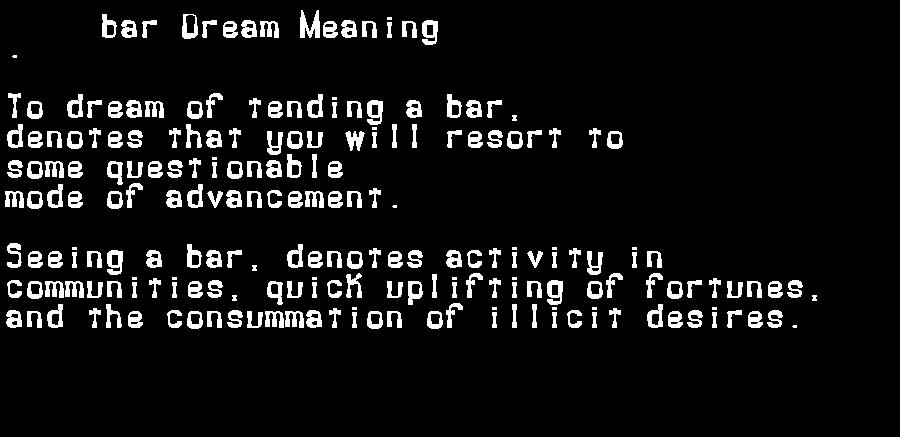 dream meanings bar