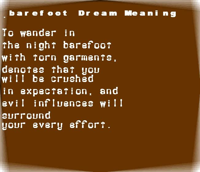dream meanings barefoot