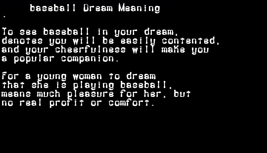 dream meanings baseball