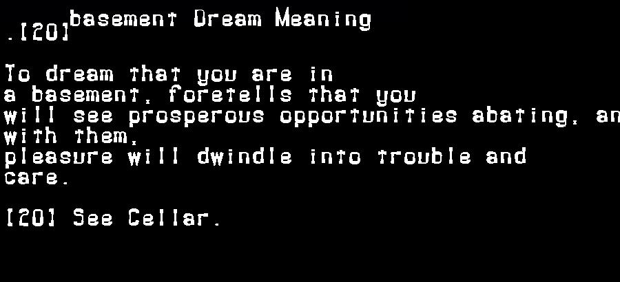 dream meanings basement