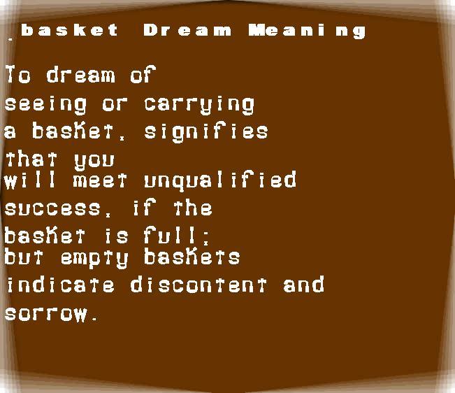 dream meanings basket