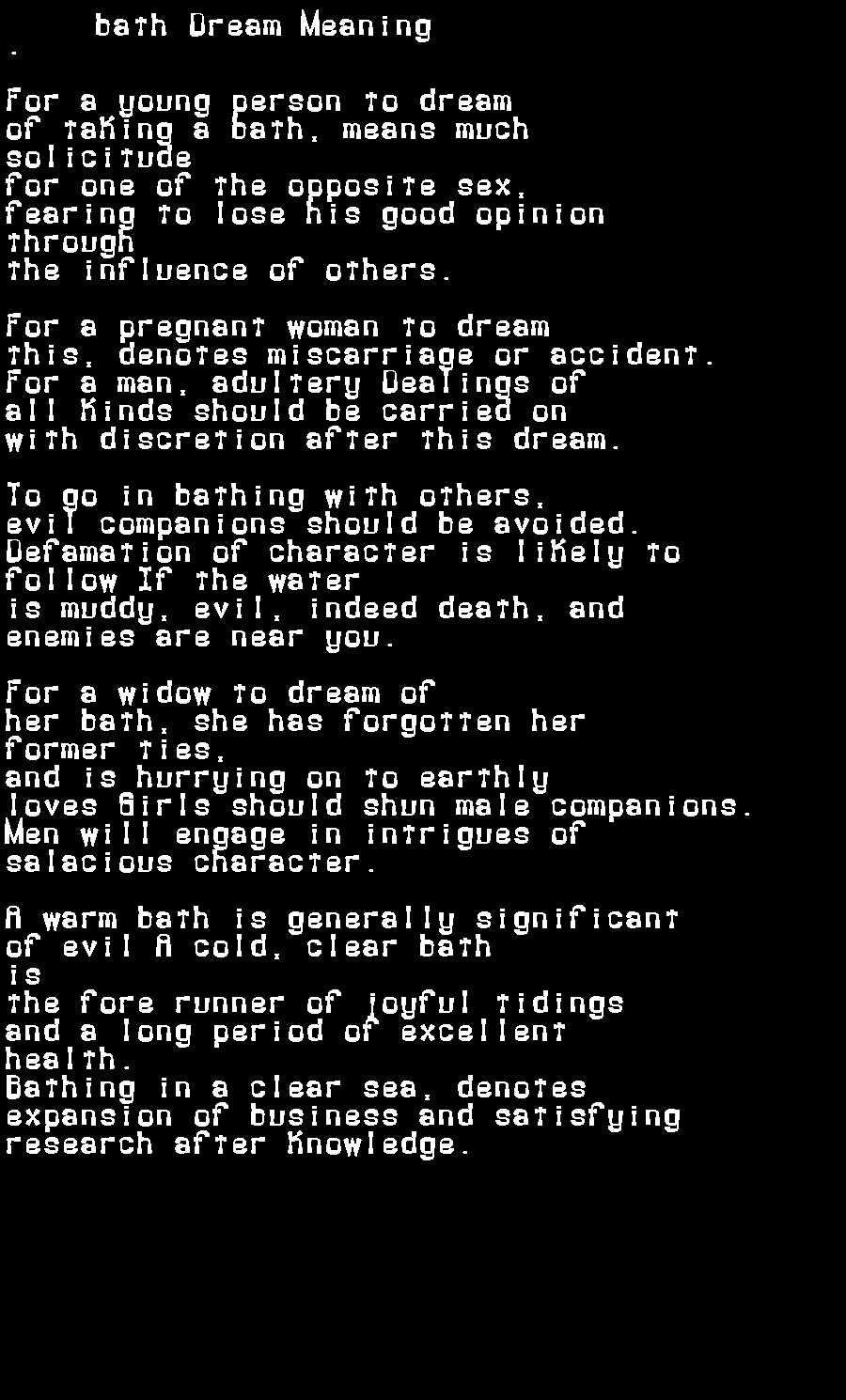 dream meanings bath