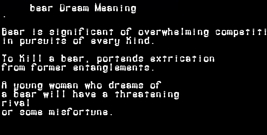 dream meanings bear