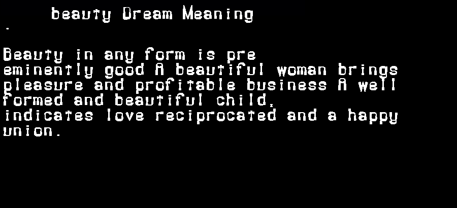 dream meanings beauty