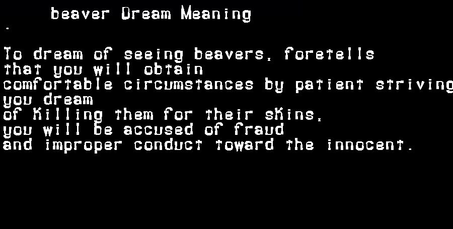 dream meanings beaver