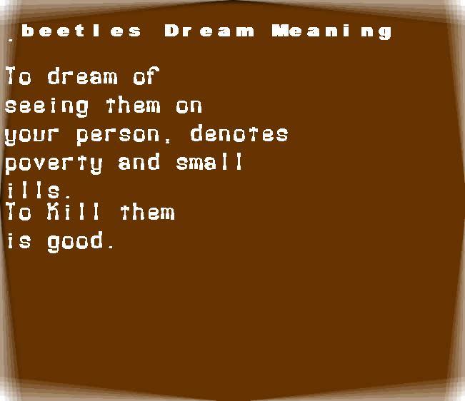 dream meanings beetles