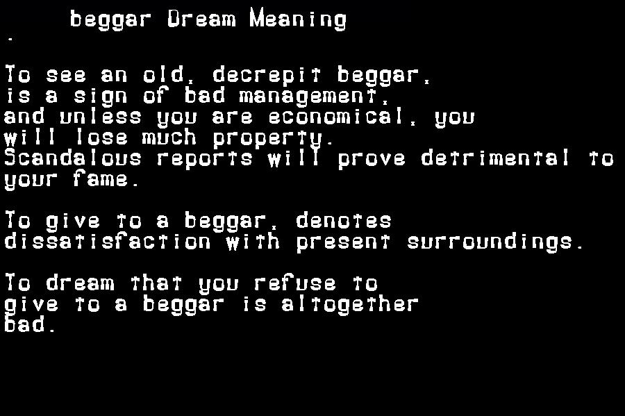 dream meanings beggar