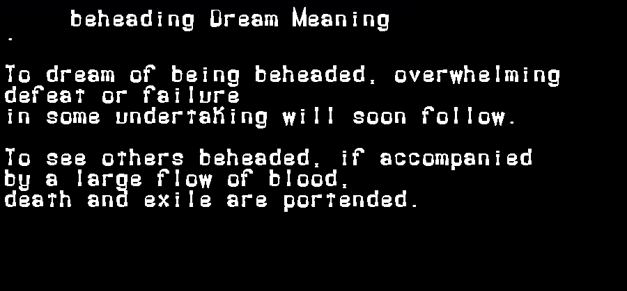 dream meanings beheading