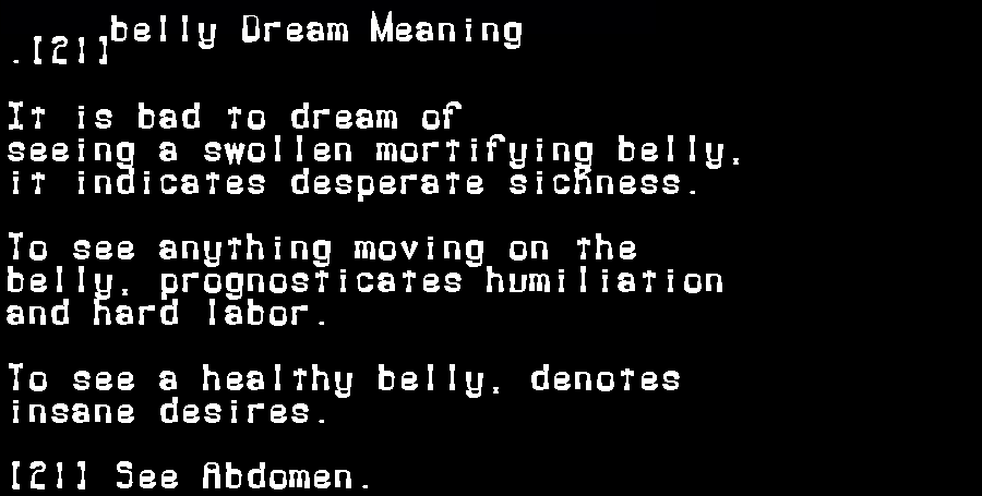dream meanings belly